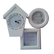 China Wood Collage Photo Frame with Clock,3-opening