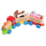 Kid's intelligence wooden pull along train toy Manufacturer