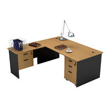 Compact L shape computer desk with left return