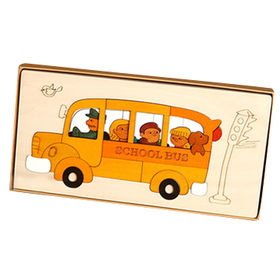 DIY school bus shape wooden puzzles for kids from China (mainland)