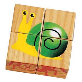 4PCS wooden jigsaw 3D puzzle