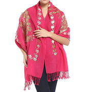 HW15-SC-YH14 Wool scarf with embroidery, made of 100% wool, warm, soft, welcome OEM and ODM orders