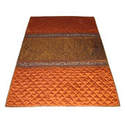 Handmade King Size Rust Color Polyester Quilt from India