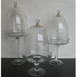 Set of 3 Glass Pedestal Plates with Silver Accented Domes