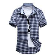 Men's check short-sleeve casual shirt from China (mainland)