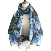 Polyester Woman Scarf, Printed Floral
