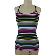 Women's yarn dyed stripe jersey top from China (mainland)