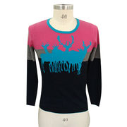 100% cashmere women sweater with delicate intarsia from Inner Mongolia Shandan Cashmere Products Co.Ltd