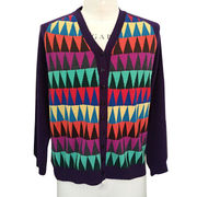 100% cashmere women cardigan sweater with delicate intarsia from Inner Mongolia Shandan Cashmere Products Co.Ltd