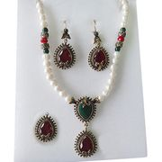 Unique antique gold plated pearl jewelry set from China (mainland)