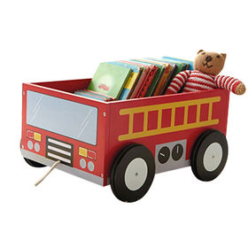 China Best Manufacturer Wooden Toy Storage Box with School Bus Printing, Unit Meas(CM): 34.5*29*19, MDF