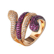 Fashionable 18K gold plated jewelry, white zircon gemstone gold finger rings