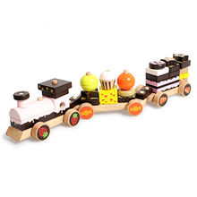 Hot Sell Wooden blocks Chocolate Cake Train Set Manufacturer