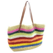 China Rainbow stripes Braided beach bag