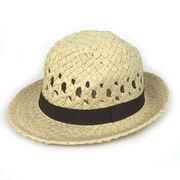 Unisex Fedora Style Straw hat from China (mainland)