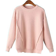 Hong Kong SAR Women's crew neck pullovers, made of cotton and acrylic, OEM & stock orders are welcomed