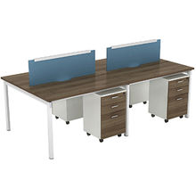 4 person seat double pedestal office computer table desk