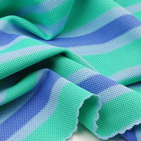 92% Poly + 8% Spandex Yarn Dye Auto Stripe Pique F from Taiwan