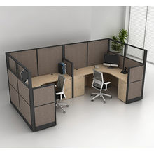China U shape 2 person workstation wood office partition modern