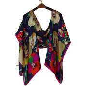100% mulberry silk scarf with color background