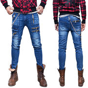 Men street multi zipper slim skinny blue jeans from China (mainland)