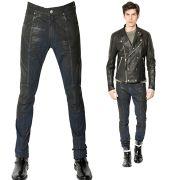 Wax coated men's slim jeans Manufacturer