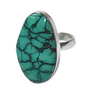 Gorgeous Looking Huge Turquoise Gemstone 925 Sterl from India