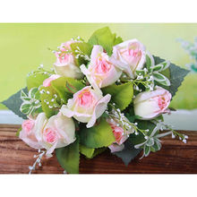 Hot sale artificial flowers pink rose.OEM orders are welcome