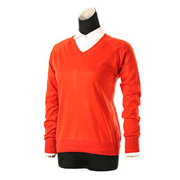 Cashmere/silk knitted V-neck sweater from China (mainland)