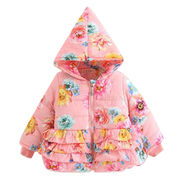 Pretty peach pink girls flora cotton padded hooded from China (mainland)