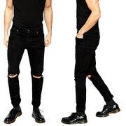 bf7b968fce5 China Distressed denim men's black jeans pants with rip knee
