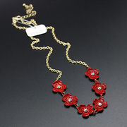 Beautiful Red Flower decoration long chain necklac from China (mainland)