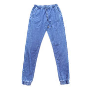 Knitted denim pants from China (mainland)