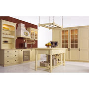 cream colour solid wood kitchen cabinet. from China (mainland)