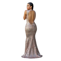 Blush Sequins Keyhole Back Party Gown from China (mainland)