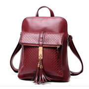 shiny patent leather wine red women backpack from China (mainland)