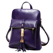 Shiny patent leather black women backpack purses from China (mainland)