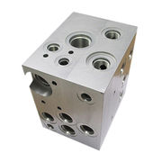 Hong Kong SAR CNC machining clear anodized hydraulic manifold block, OEM factory with custom logo lasered