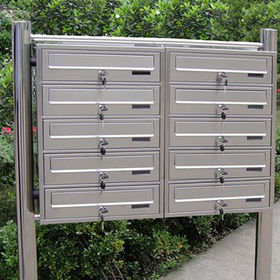Stainless Steel Mailbox with 1mm Thickness and 2 Stand Pipes, Suitable for Apartments/Group Houses