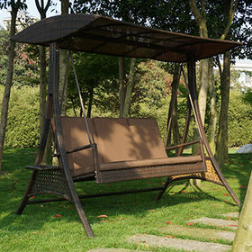 china 3 seat rattan wicker patio swing chair with adjustable tilt canopy with seat - Patio Swings