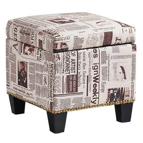China Printed fabric storage ottoman