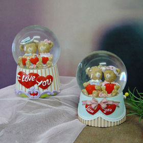 Lovely Bears Lover and Hearts Snow Globe Ornament from China (mainland)