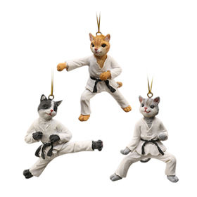 Resin taekwondo cat figurines for home decor and window decor, OEM designs are welcome
