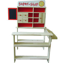 Kids role play toy wooden mini supermarket