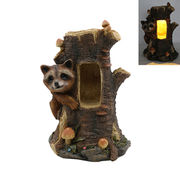 New Design resin Racoon Tree Stump Statue Manufacturer