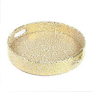 Round shape gold PU leather tray from China (mainland)