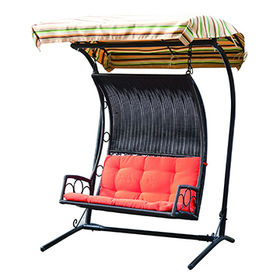 PE rattan wicker hanging double swing chair from China (mainland)