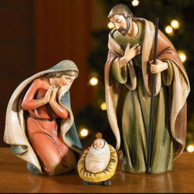 Polyresin Nativity set,Mary Joseph&Jesus Figurines for Religious Decoration