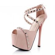 Rivet women's peep toe shoes from China (mainland)
