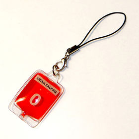 Liquid filled phone strap, blood group design from Hot and Cold Products Co. Ltd